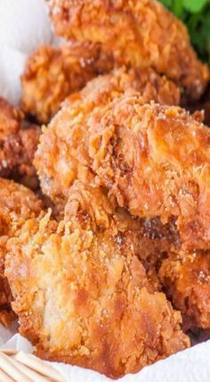 Learn how to make fried chicken from one of more than 20 of the best fried chicken recipes. We have buttermilk, garlic, southern fried chicken and more. Fried Chicken Batter, Crispy Fried Chicken, Fried Chicken Recipes, Pizza Ranch Fried Chicken Recipe, Fried Chicken Recipe With Milk, Roasted Chicken, Homemade Fried Chicken, Chicken Gravy, Kentucky Fried