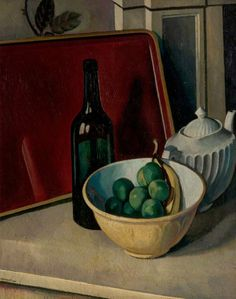 Bernard Meninsky - Still Life with Yellow Bowl and Fruit, 1920, Oil on canvas, 68.6 x 55.9 cm, Nottingham City Museums and Galleries.
