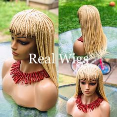 Excited to share this item from my shop: Braided bang wig/ Box braids. The wig in the picture is blonde.The length is your color & length. Braids Wig, Cornrows, Box Braids, Braid Bangs, Natural Hair Braids, Natural Hair Styles, Real Wigs, Braid Out, Brown Highlights