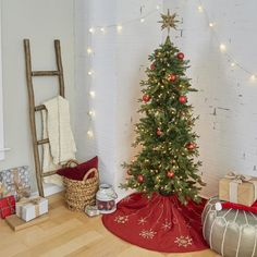 The timeless design of a tree skirt will become a holiday keepsake for years to come. #lowes #Christmas #homedecor #decorating