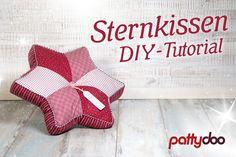 Sternkissen DIY-Tutorial von Pattydoo Damit könnt ihr euer Sofa schön weihnachtlich aufhübschen oder es an jemand Liebes verschenken