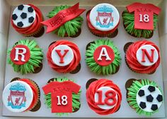 Little Paper Cakes: Birthday Cupcakes for Liverpool FC fan Ryan Boys 18th Birthday Cake, Crazy Birthday Cakes, 21st Birthday Cupcakes, Mario Birthday Cake, Football Birthday Cake, Football Cupcakes, Hubby Birthday, Birthday Ideas, Football Cakes For Boys