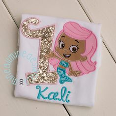 Girls or Boys Bubble Guppies Inspired Applique Embroidered Personalized Tee Shirt, Molly Bubble Puppy - First Second Third Birthday Shirt -