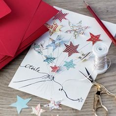 Create a starry greeting card for the holidays Invitation Design, Invitations, Star Cards, Diy Christmas Cards, Diy Cards, Greeting Cards, Paper Crafts, Nouvel An, Marie Claire
