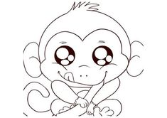 cute baby monkey coloring pages - Enjoy Coloring