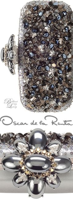 Rosamaria G Frangini | High Clutches | Brilliant Luxury * Oscar de la Renta Cabochon Goa, silver details.