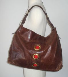 Tano Brown Leather with Large Grommet Accents Clutch Shoulder Bag Tote | eBay