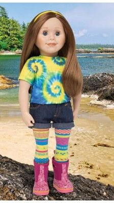 Maplelea Canadian doll, Charlsea is the Island Girl doll from British Columbia. She loves adventure, the ocean, and her goat! Canadian Girl Dolls, Canadian Girls, Long Auburn Hair, Pink Rain Boots, Cowichan Sweater, Gray Eyes, Patterned Tights, Island Girl, Cut Shirts