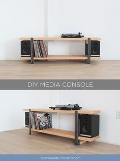 DIY Turntable/Media Console and vinyl storage. DIY Turntable/Media Console and vinyl storage. Vinyl Shelf, Vinyl Record Storage, Lp Storage, Bench With Shoe Storage, Diy Media Storage, Vinyl Record Cabinet, Easy Woodworking Projects, Diy Projects, Turntable Setup