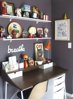Desk and toys, would like to put up similar shelves above a dresser in daughters room, then she can display things there, and hopefully keep her desk neat.