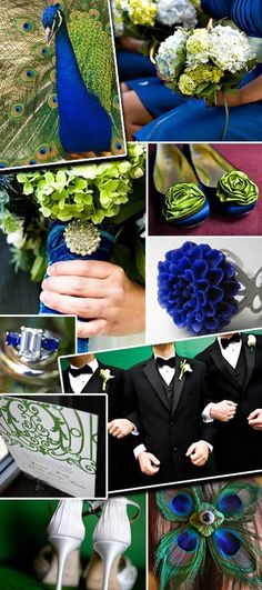 Cobalt Blue and Green Wedding Inspiration Board... I just keep coming back to this peacock idea. I love it a lot.