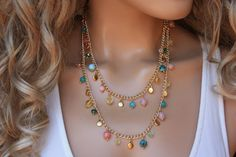 This lovely piece has so much of semi precious stone! It has various jade stones, cz crystals and pretty gold plated charms on gold pl… Gold Anklet, Anklets, Girls Necklaces, Metal Necklaces, Boho Necklace, Fashion Necklace, Crochet Necklace, Diy Collier, Donia