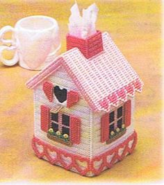 VALENTINE HOUSE Tissue Box Cover - Plastic Canvas PATTERN via Etsy - plastic canvas