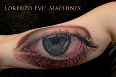 Realistic colour eye tattoo by Lorenzo Evil Machines - Roma - Italia - Realistic Color Tattoo by Lorenzo Evil Machines - Roma - tatuaggi realistici e ritratti 3D animali