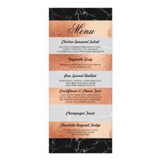 Menu Black Marble Rose Gold Wedding Reception Card
