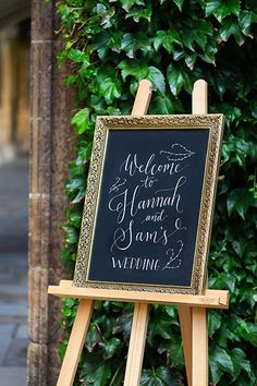 Handwritten chalkboard Welcome Sign with frame and easel #wedding #chalkboard #welcomesign #weddingwelcomesign #chalkboardwelcomesign