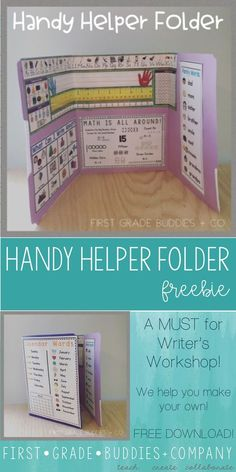 The Handy Helper Folder is a very useful tool in our classrooms for independent . 1st Grade Writing, Kindergarten Writing, 2nd Grade Math, Kindergarten Classroom, Grade 2, Third Grade, Literacy, Math Folders, Writing Folders