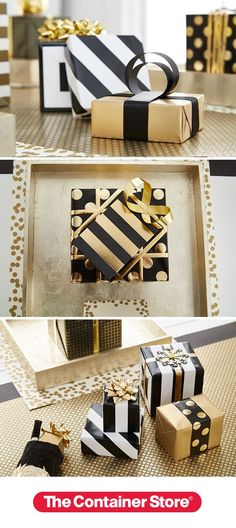 Elegant and stately with just the right touch of glitz and glamour! We wrapped small gifts in gold, black and white paper and placed them at each place setting.