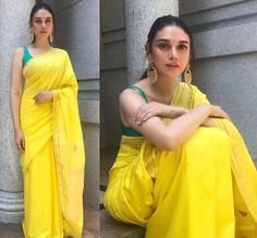 Best Contrast Blouse Ideas To Try With Yellow Saree.' In Pic: Aditi Rao Hydari in yellow with green saree blouse. Blouse Back Neck Designs, Saree Blouse Designs, Blouse Patterns, Indian Beauty Saree, Indian Sarees, Ethnic Sarees, Indian Dresses, Indian Outfits, Pakistani Outfits