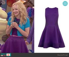 Liv's purple dress and blue cropped cardigan on Liv and Maddie Dress With Cardigan, Cropped Cardigan, Glee Fashion, Fashion Outfits, Liv Et Maddie, Liv Rooney, Dove Cameron Style, Girls Short Dresses, Tv Show Outfits