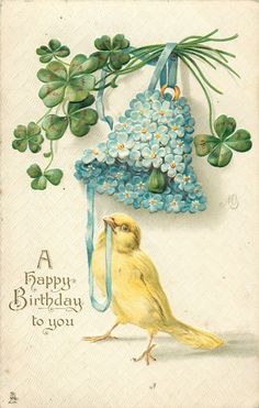 A HAPPY BIRTHDAY TO YOU  canary, forget-me-not bell, shamrocks