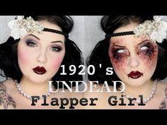 1920's Zombie Flapper Makeup Tutorial / Jordan Hanz - YouTube