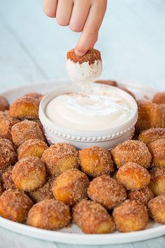 Auntie Anne's Cinnamon Sugar Pretzel Bites — this homemade take on the mall food court classic is even tastier thanks to a tangy cream cheese icing for dipping