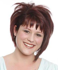 Short Straight Casual Bob Hairstyle with Razor Cut Bangs Burgundy Hair Color Concave Bob Hairstyles, Short Bob Hairstyles, Hairstyles With Bangs, Blonde Hairstyles, Layered Hairstyles, Casual Hairstyles, Pixie Haircuts, Medium Hairstyles, Braided Hairstyles
