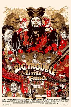 """Affiche originale Mondo """"Big Trouble in Little China"""" par Tyler Stout (année 2007) numérotée, Taille 24""""x36"""" screenprint w/ metallic inks. Regular, limité à 300 exemplaires au monde.@asgalerie #asgalerie #mondo #BigTroubleinLittleChina #TylerStout."""