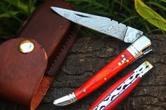 "Amazon.com : DKC-93 MT. TAM Damascus Folding Laguiole Pocket Knife Red Pakka Wood 4.5"" Folded 8.5"" Long 3.2oz oz High Class Looks Incredible Feels Great In Your Hand And Pocket Hand Made DKC Knives TM : Sports & Outdoors"