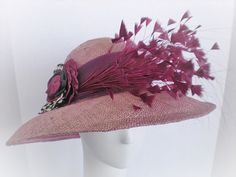 Zia!  zia!  zia!!  Soft dusty purple wide brim Kentucky Derby Hat with Hand cut Feathers via Etsy