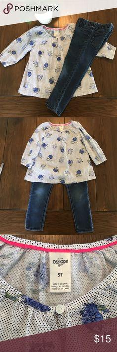 Authentic Osh Kosh shirt and jeggings bundle! Blouse is size 5T and Jeggings size 4T! A quality outfit in great condition 👈🏼👚👖 Osh Kosh Matching Sets
