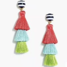 J. Crew Jewelry | J Crew Striped Tasseled Earrings | Poshmark Ruffle Bikini Bottoms, Chelsea Rain Boots, Discount Mens Clothing, Work Trousers, J Crew Style, Lightweight Scarf, Color Stripes, Kids Outfits, Women Jewelry