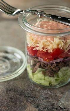 Cheeseburger Salat im Glas