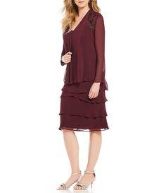 b0c15725b4b Ignite Evenings Lace-Shoulder Chiffon Jacket Dress