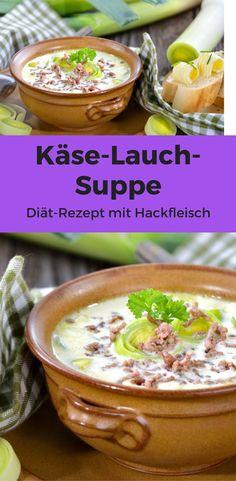 Käse-Lauch-Suppe mit Hack ist für gewöhnlich eine ganz schöne Kalorienbombe. Das muss aber nicht sein, denn mit ein paar kleinen Abwandlungen kommt das Gericht pro Portion auf nicht einmal 400 Kalorien. Perfekt für jede Diät.