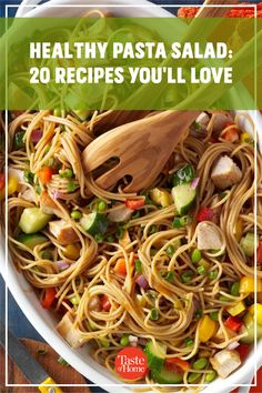 Packed with fresh produce and seasonal flavors, these healthy pasta salad recipes are a delicious addition to your menu. Yummy Pasta Recipes, Potluck Recipes, Pasta Salad Recipes, Healthy Pasta Salad, Healthy Pastas, Potluck Salad, Macaroni Salad, Cucumber Salad, Summer Salads