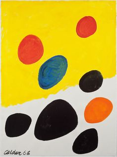 Alexander Calder - Yellow and White field, 1968, 77 x 57 cm