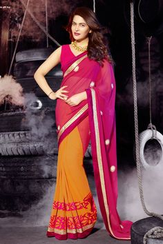 Pink And Orange Color #Designer #Saree @http://www.maalpani.com/latest-arrivals.html