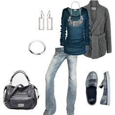 style, cloth, springsumm outfit, blue, fallwint outfit, necklac, nike shoes, jean outfits, shirt