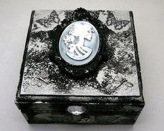 Gothic Jewelry Box Upcycled Bat Woman Wood by NacreousAlchemy