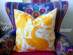 Yellow Otomi Paradise Bird - - Otomi Pillow Shams - Otomi Decorative Pillow - Cushion - Yellow Pillow sham - - EACH Yellow Pillows, Throw Pillows, Pillow Shams, Decorative Pillows, Paradise, Cushion, Bird, This Or That Questions, Etsy
