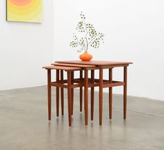 1960s Vintage Danish Modern Teak Nesting Tables Hans Wegner Mid Century Eames Er #DanishModern