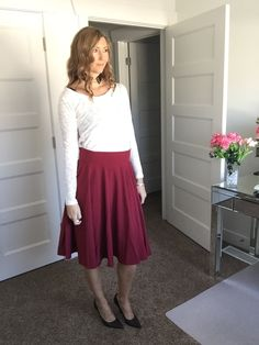 Find this look @Glamhive #fashion #outiftoftheday #outfit #pinoftheday #OOTD #burgundyskirt #skirt #circleskirt #redskirt #whitesweater #sweater #fashion #shop #fashionstylist #stylist #amazon #amazonfashion #inexpesivefashion #mystylespot #fashionblogger #womensfashion #apparel #clothing #personalshopper  where you get rewarded for shopping! http://www.glamhive.com/look/587fd309e4b0b491657fbc97