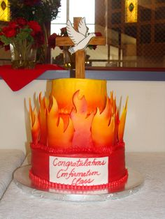 Confirmation Cake by Lisa Wink. Great for when confirmation lands on Pentecost!