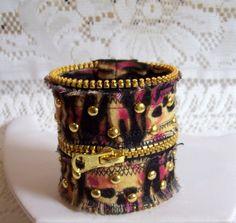 On Sale Handmade Zipper Wrap Cuff Bracelet With by TheHappyHooper1, $15.00
