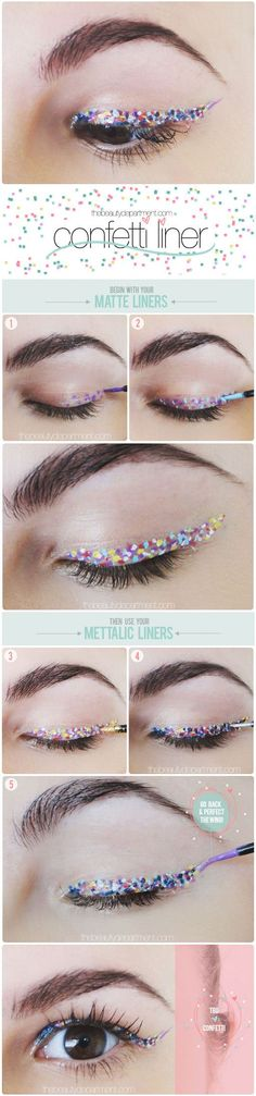 Maquillaje para fiesta tipo confetti