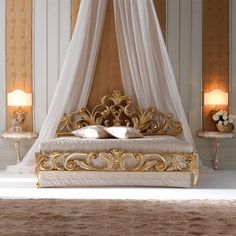 High End Designer Gold Rococo Bed