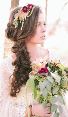 boho Stylish wedding hairstyle idea / http://www.deerpearlflowers.com/spring-summer-wedding-hairstyles/