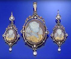 GOLD, PLATINUM, HARDSTONE CAMEO HABILLÉ, PEARL AND DIAMOND DEMI-PARURE, CIRCA 1870